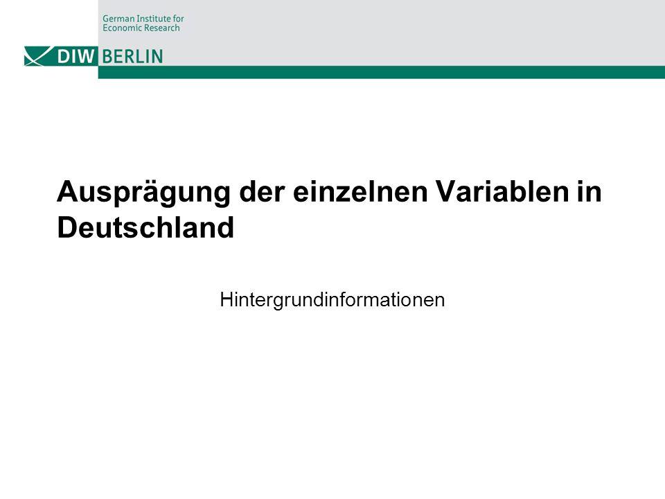 Ausprägung der einzelnen Variablen in Deutschland
