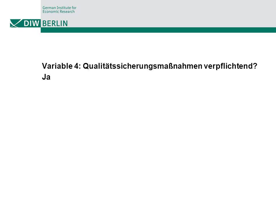 Variable 4: Qualitätssicherungsmaßnahmen verpflichtend