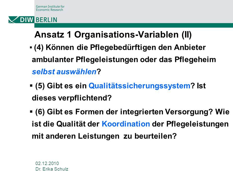 Ansatz 1 Organisations-Variablen (II)