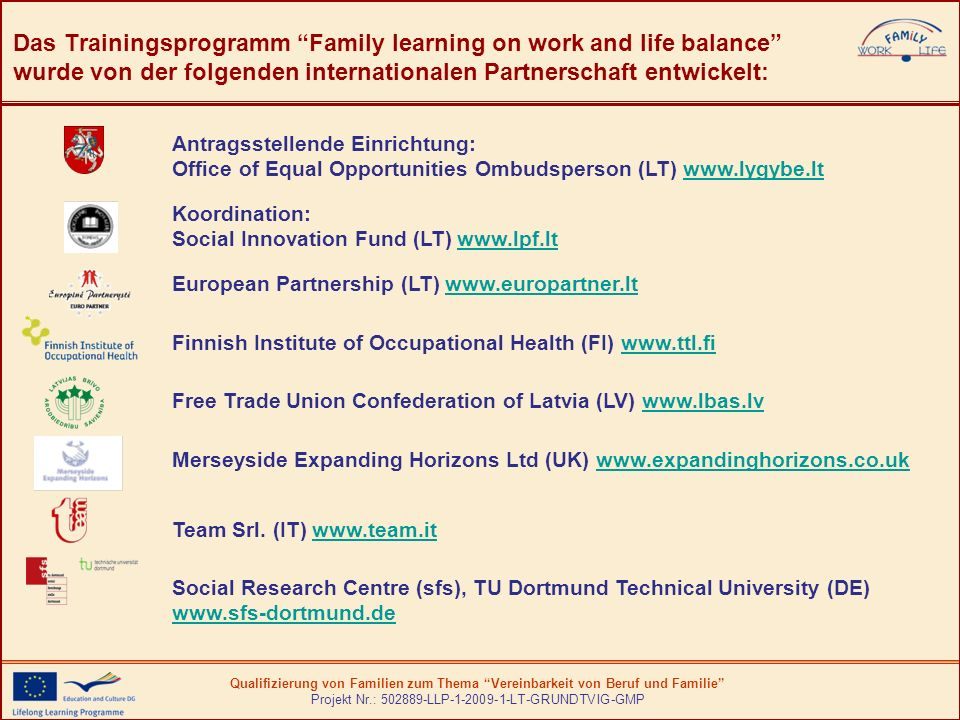 Das Trainingsprogramm Family learning on work and life balance wurde von der folgenden internationalen Partnerschaft entwickelt: