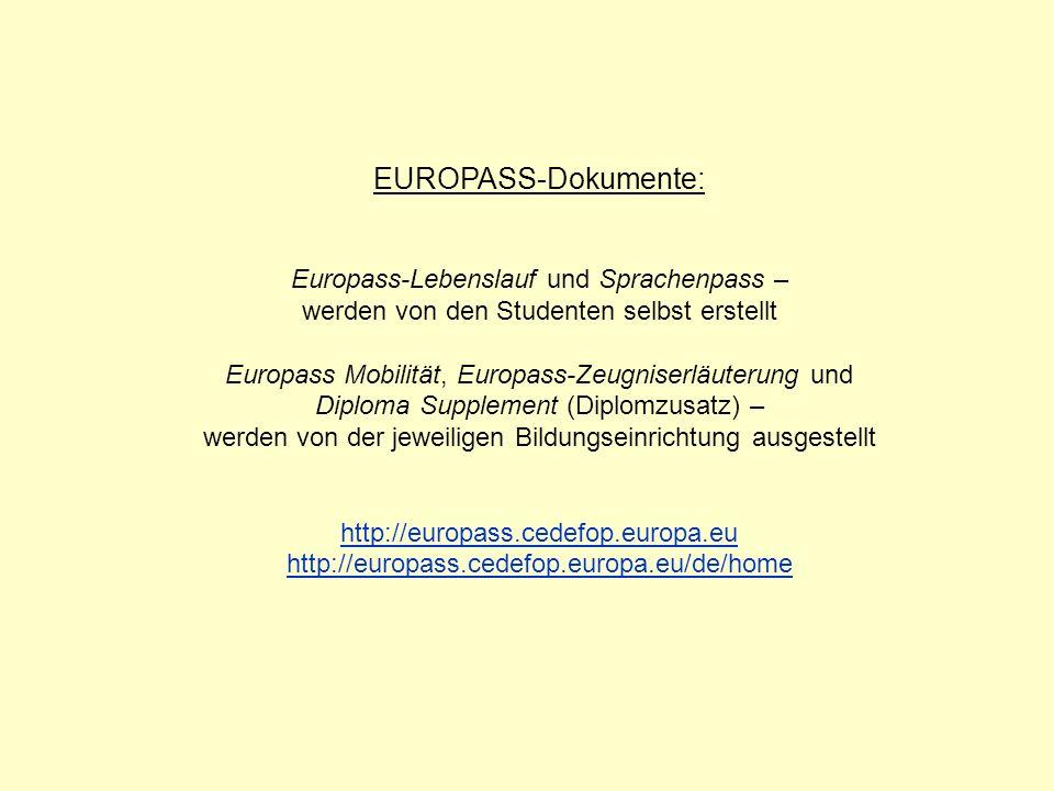 EUROPASS-Dokumente: Europass-Lebenslauf und Sprachenpass –