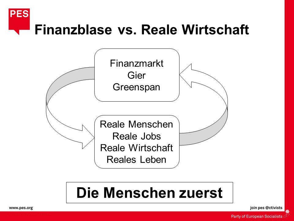 Die Menschen zuerst Finanzblase vs. Reale Wirtschaft Finanzmarkt Gier