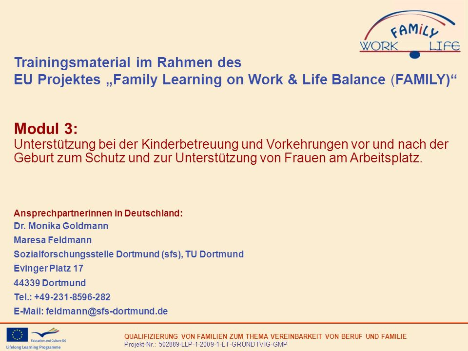 "Trainingsmaterial im Rahmen des EU Projektes ""Family Learning on Work & Life Balance (FAMILY)"