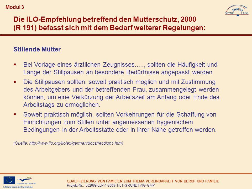 Modul 3 Die ILO-Empfehlung betreffend den Mutterschutz, 2000 (R 191) befasst sich mit dem Bedarf weiterer Regelungen: