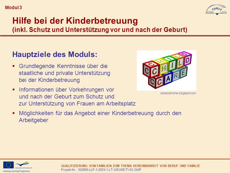 Modul 3Hilfe bei der Kinderbetreuung (inkl. Schutz und Unterstützung vor und nach der Geburt) Hauptziele des Moduls: