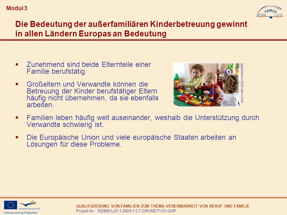Modul 3Die Bedeutung der außerfamiliären Kinderbetreuung gewinnt in allen Ländern Europas an Bedeutung.