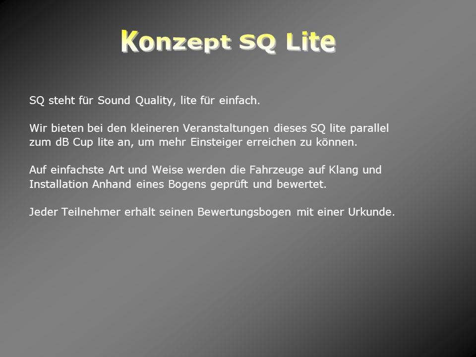 Konzept SQ Lite SQ steht für Sound Quality, lite für einfach.