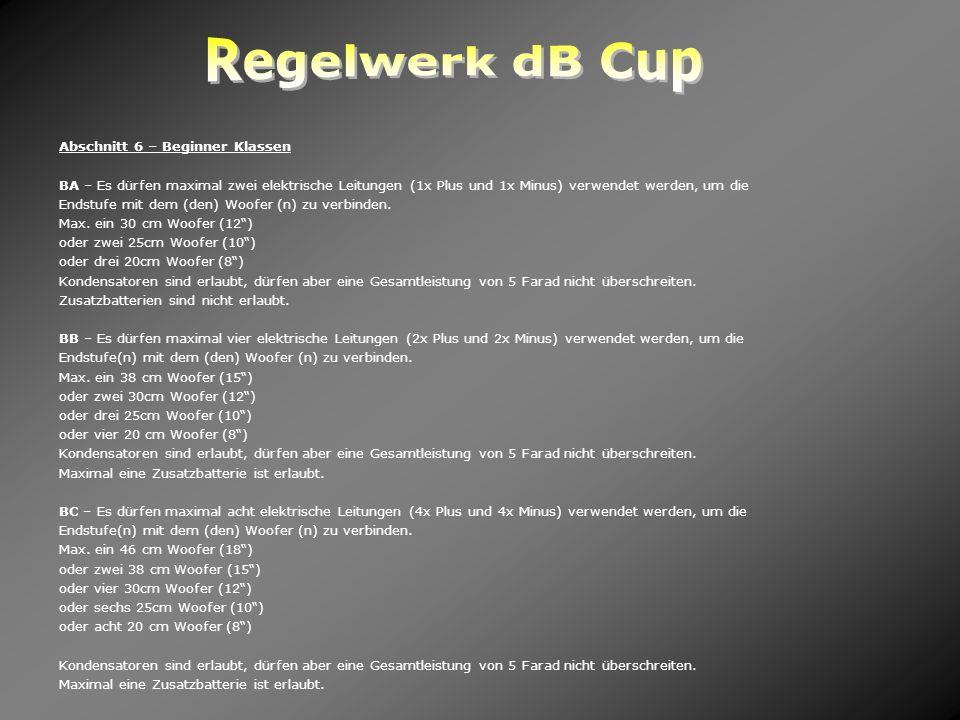 Regelwerk dB Cup Abschnitt 6 – Beginner Klassen