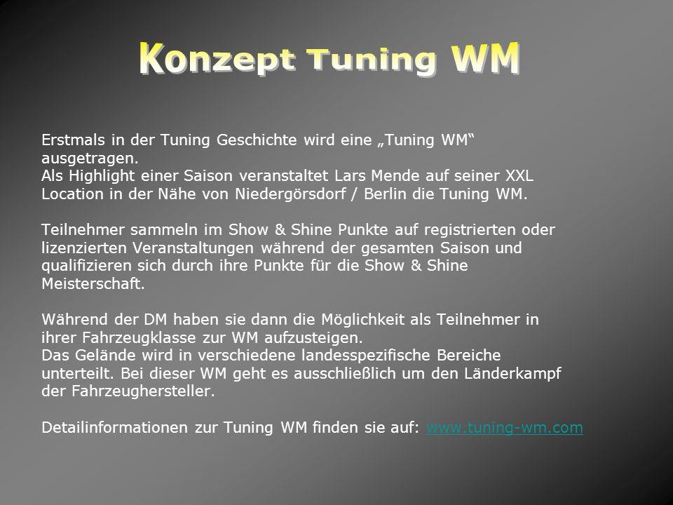 """Konzept Tuning WM Erstmals in der Tuning Geschichte wird eine """"Tuning WM ausgetragen."""