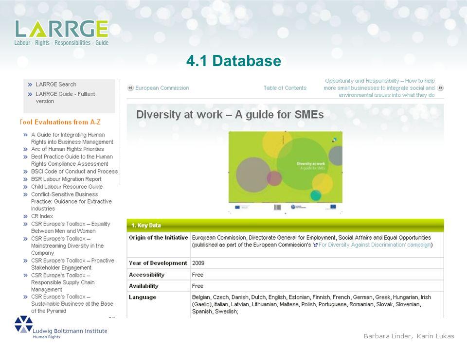 4.1 Database Barbara Linder, Karin Lukas