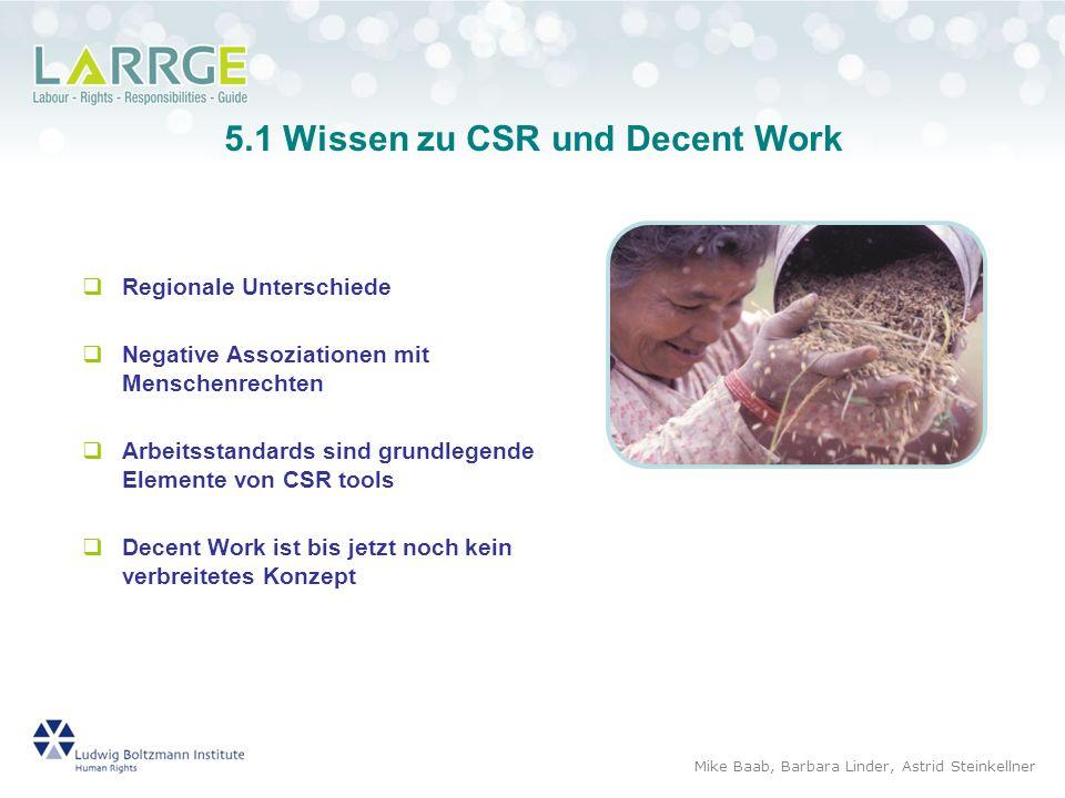 5.1 Wissen zu CSR und Decent Work