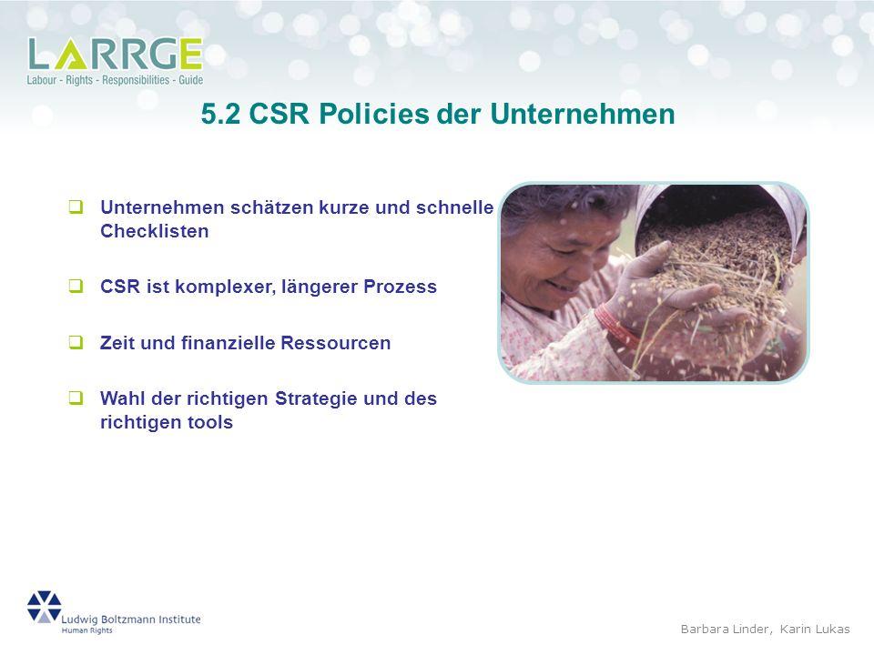5.2 CSR Policies der Unternehmen