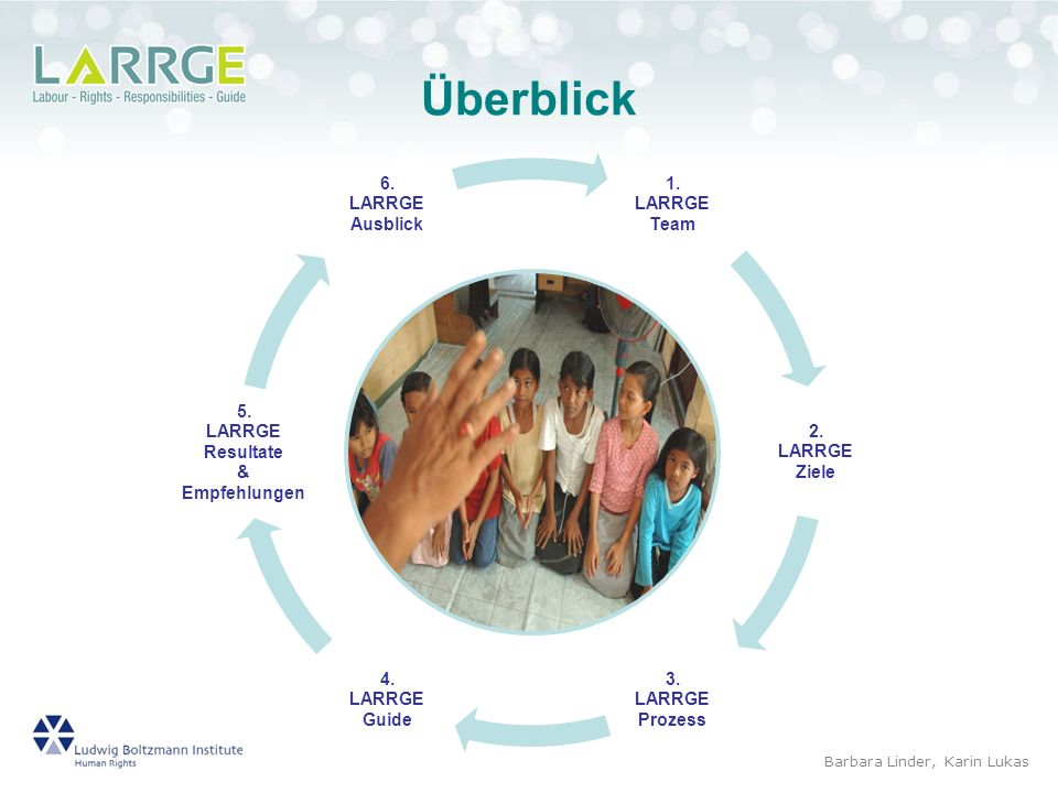 Overview Überblick 1. LARRGE Team 2. Ziele 3. Prozess 4. Guide 5.