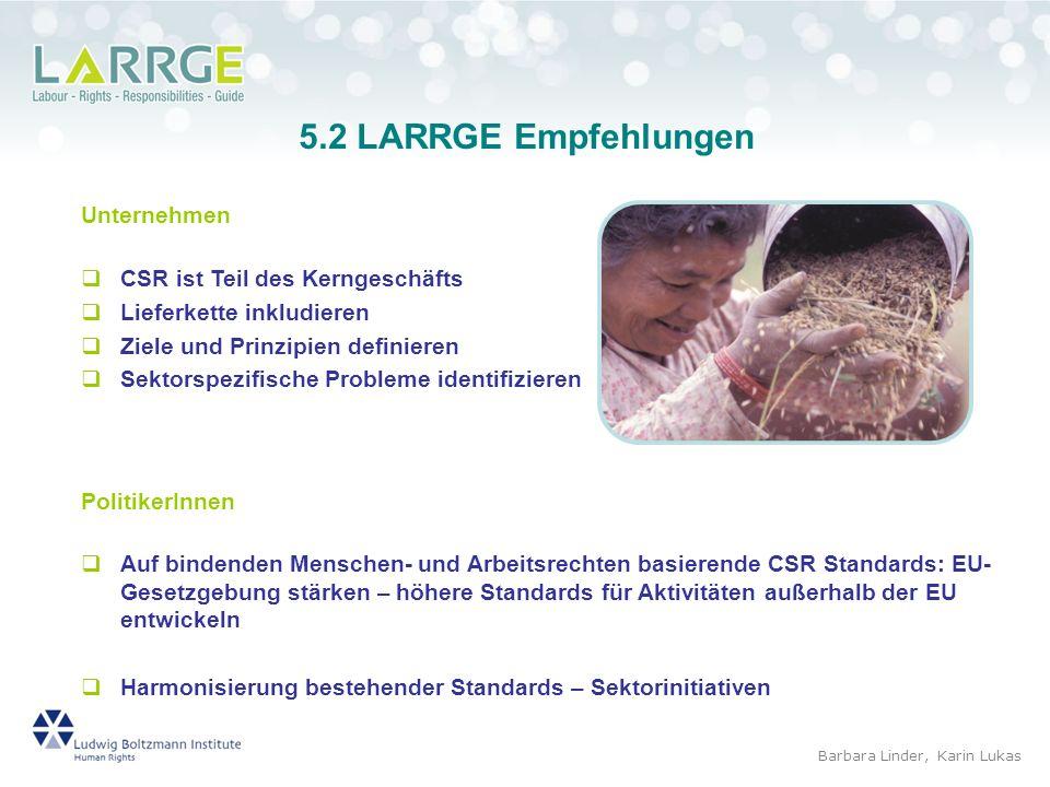 5.2 LARRGE Empfehlungen Unternehmen CSR ist Teil des Kerngeschäfts
