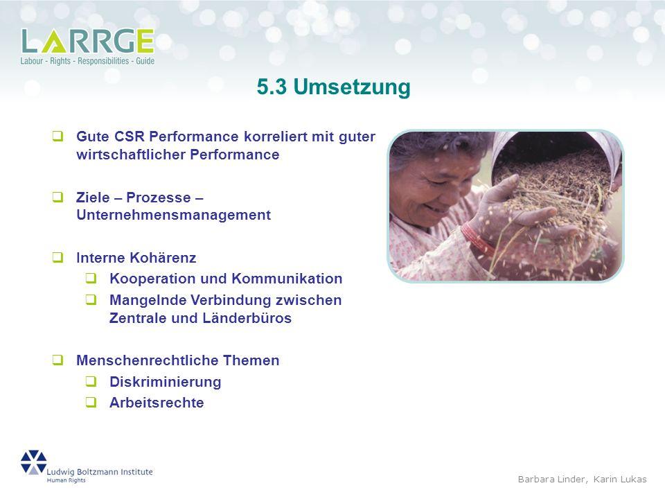 5.3 Umsetzung Gute CSR Performance korreliert mit guter wirtschaftlicher Performance. Ziele – Prozesse – Unternehmensmanagement.