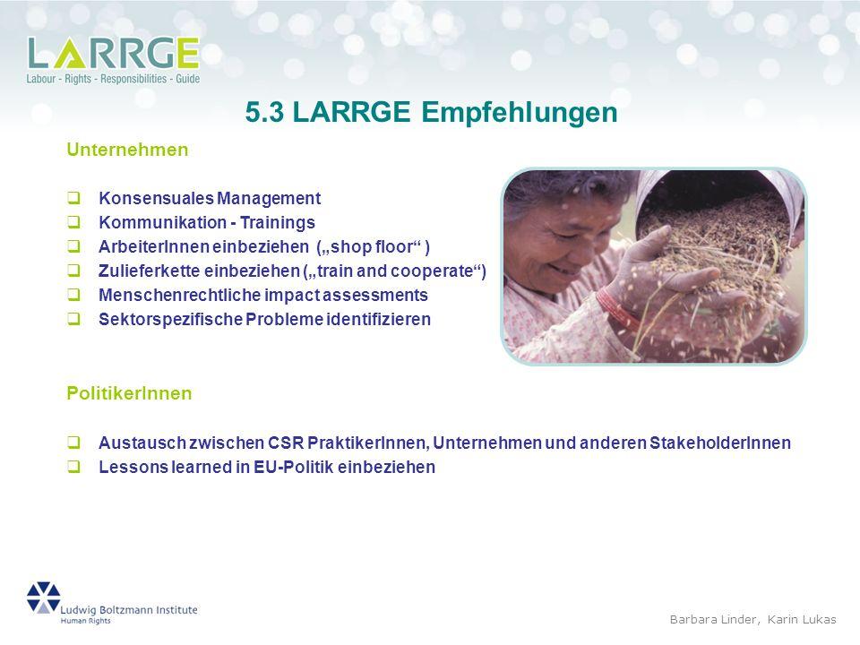 5.3 LARRGE Empfehlungen Unternehmen PolitikerInnen