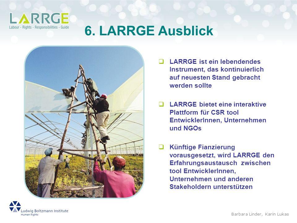 6. LARRGE AusblickLARRGE ist ein lebendendes Instrument, das kontinuierlich auf neuesten Stand gebracht werden sollte.