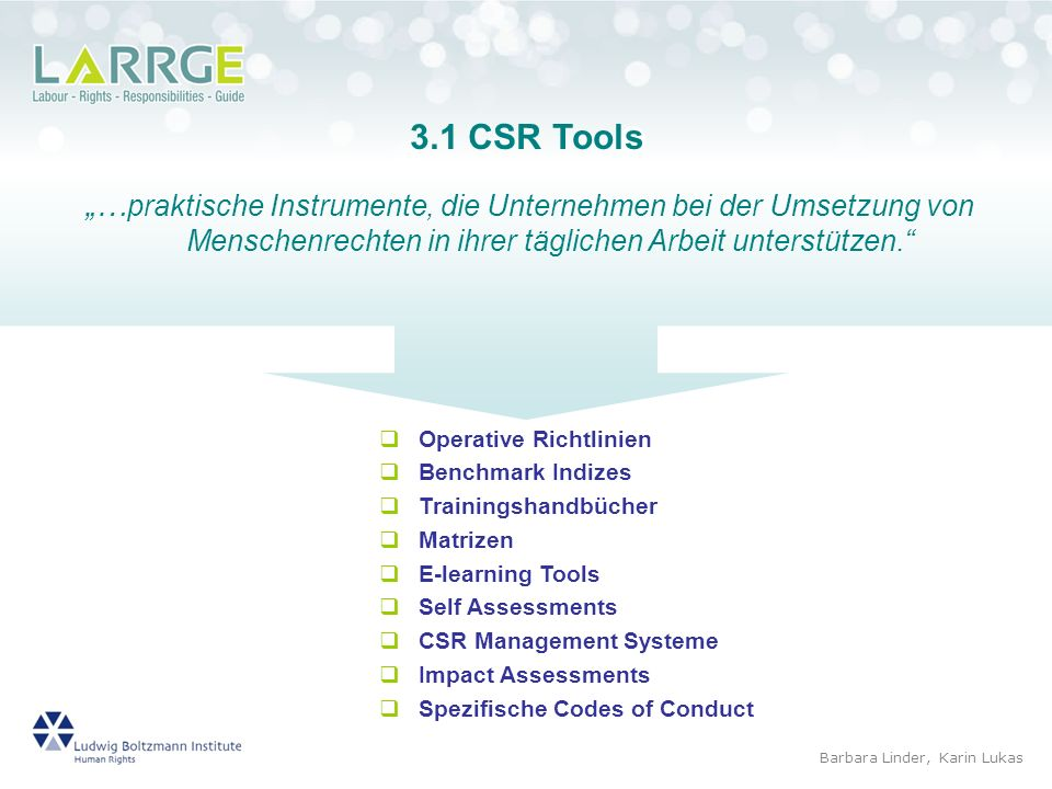 """3.1 CSR Tools""""…praktische Instrumente, die Unternehmen bei der Umsetzung von Menschenrechten in ihrer täglichen Arbeit unterstützen."""