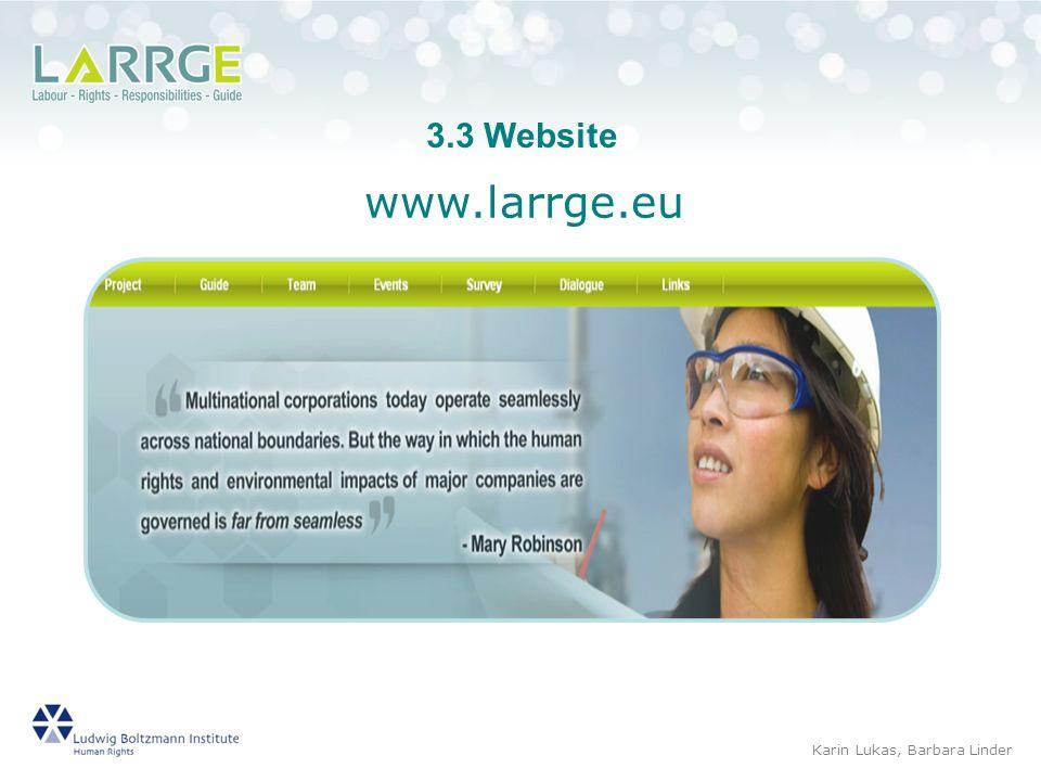 3.3 Website www.larrge.eu Karin Lukas, Barbara Linder