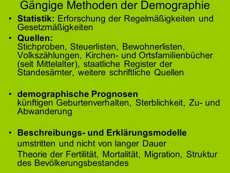 Gängige Methoden der Demographie