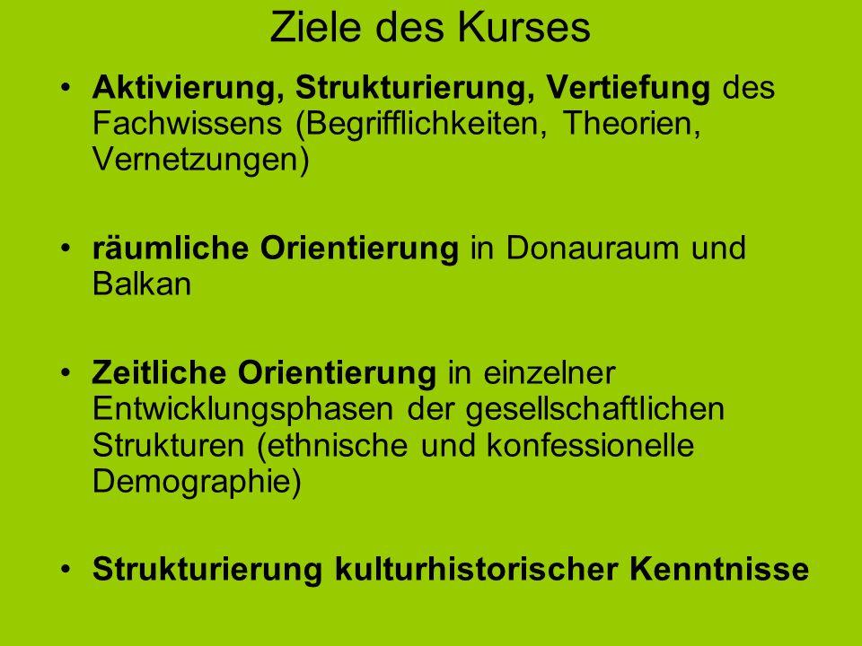 Ziele des Kurses Aktivierung, Strukturierung, Vertiefung des Fachwissens (Begrifflichkeiten, Theorien, Vernetzungen)