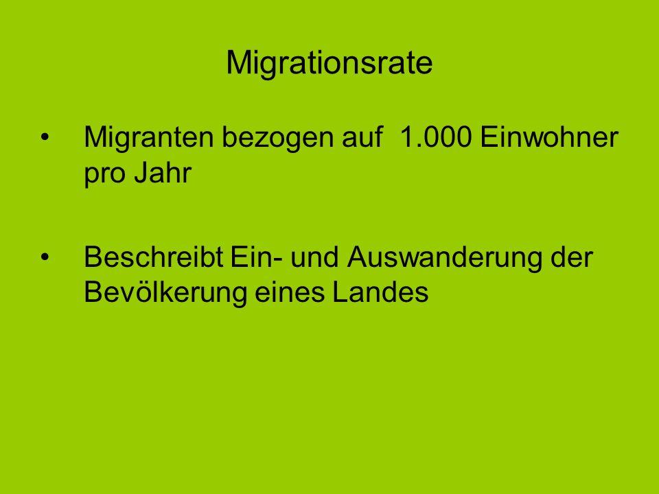 Migrationsrate Migranten bezogen auf 1.000 Einwohner pro Jahr