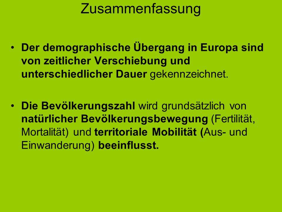 Zusammenfassung Der demographische Übergang in Europa sind von zeitlicher Verschiebung und unterschiedlicher Dauer gekennzeichnet.