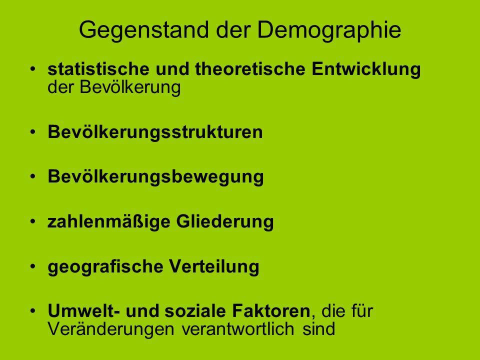 Gegenstand der Demographie
