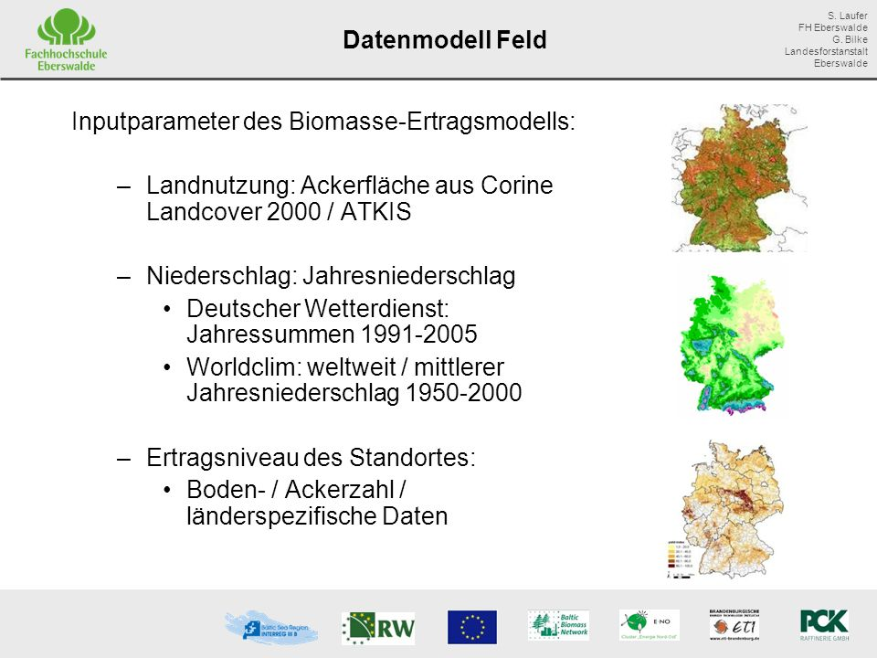 Datenmodell Feld Inputparameter des Biomasse-Ertragsmodells: Landnutzung: Ackerfläche aus Corine Landcover 2000 / ATKIS.