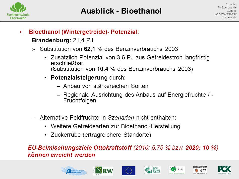 Ausblick - Bioethanol Bioethanol (Wintergetreide)- Potenzial: