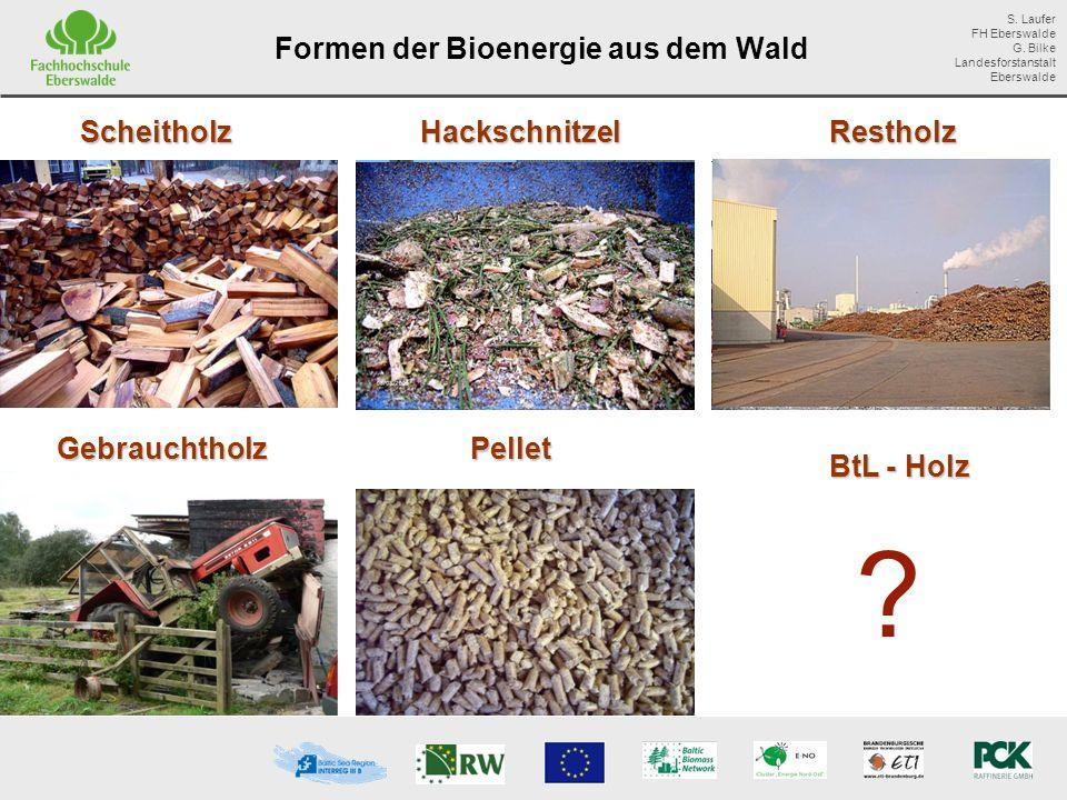 Formen der Bioenergie aus dem Wald