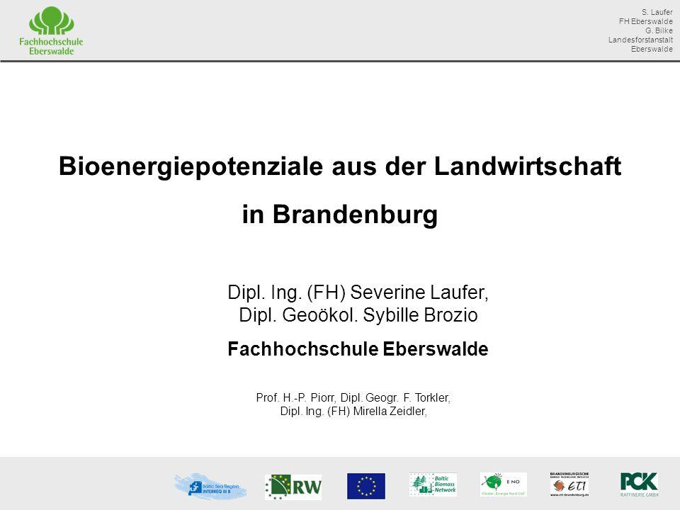 Bioenergiepotenziale aus der Landwirtschaft in Brandenburg