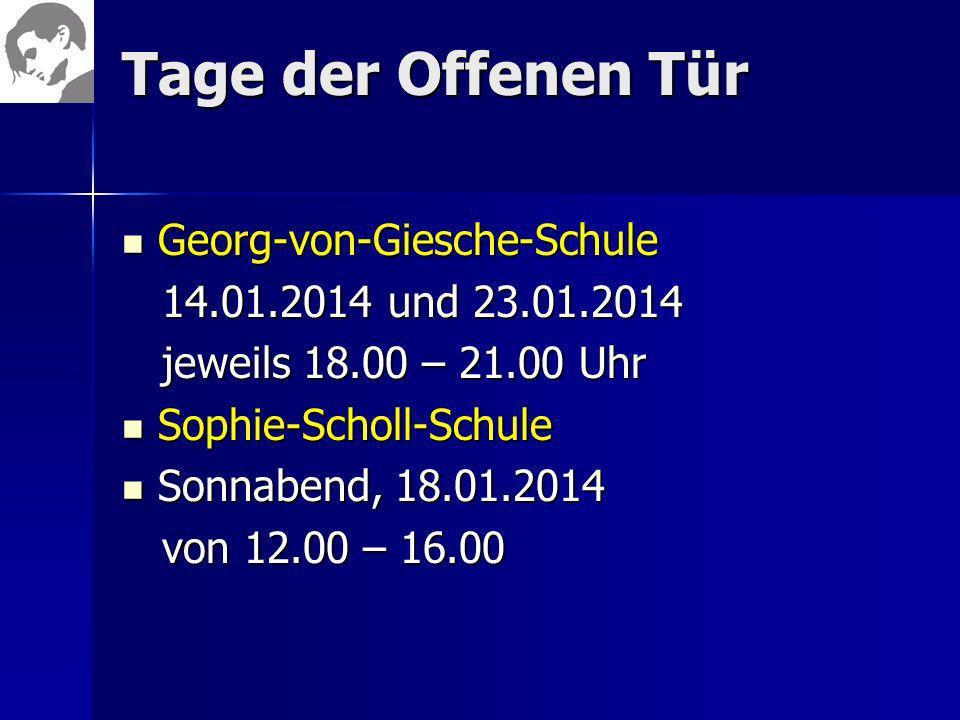Tage der Offenen Tür Georg-von-Giesche-Schule