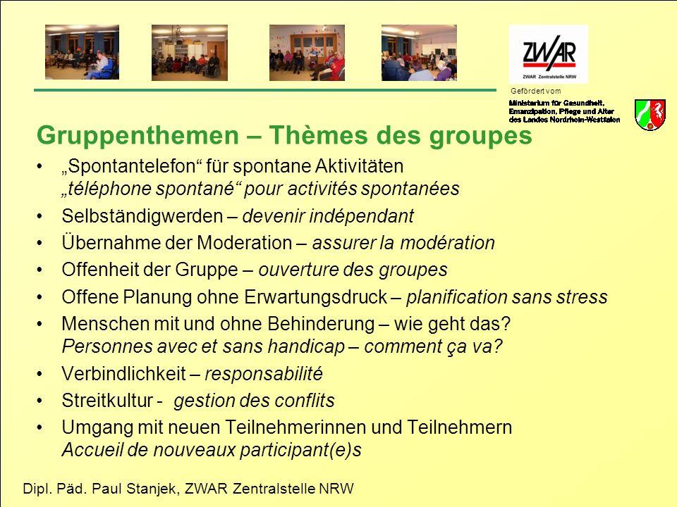 Gruppenthemen – Thèmes des groupes