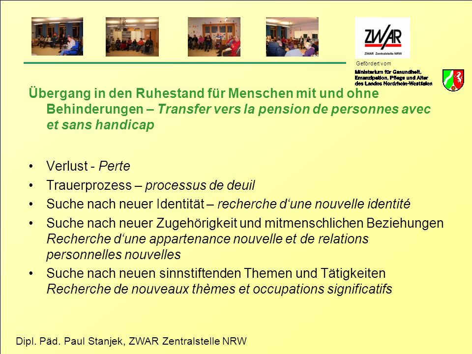 Übergang in den Ruhestand für Menschen mit und ohne Behinderungen – Transfer vers la pension de personnes avec et sans handicap