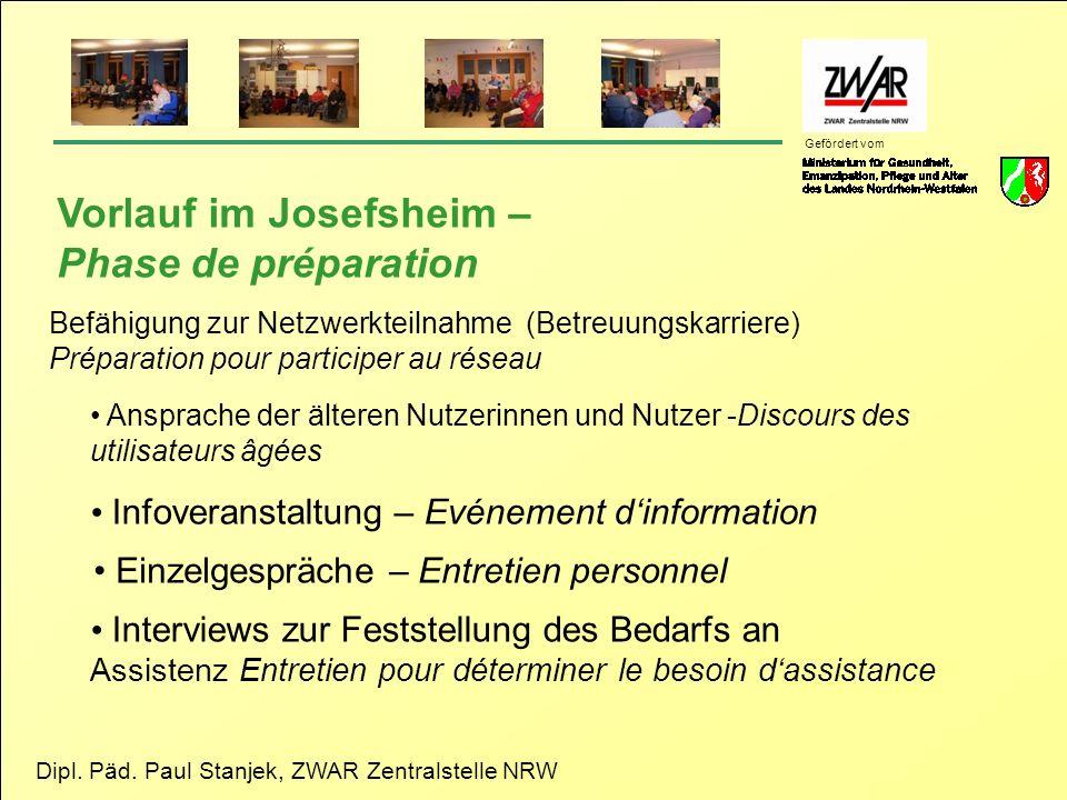 Vorlauf im Josefsheim – Phase de préparation
