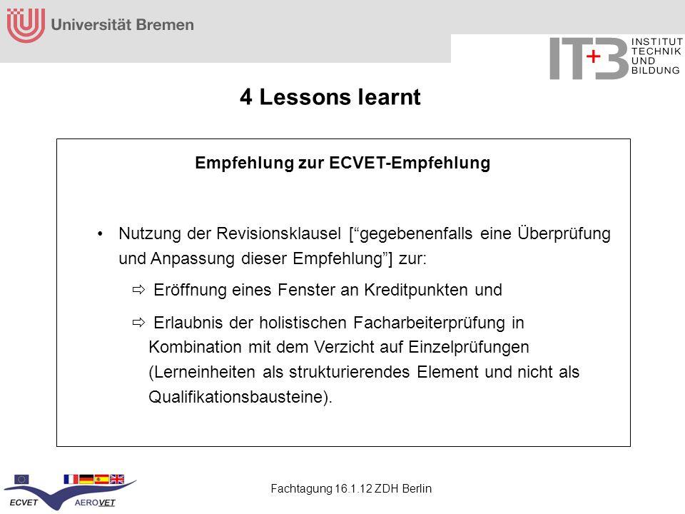 Empfehlung zur ECVET-Empfehlung
