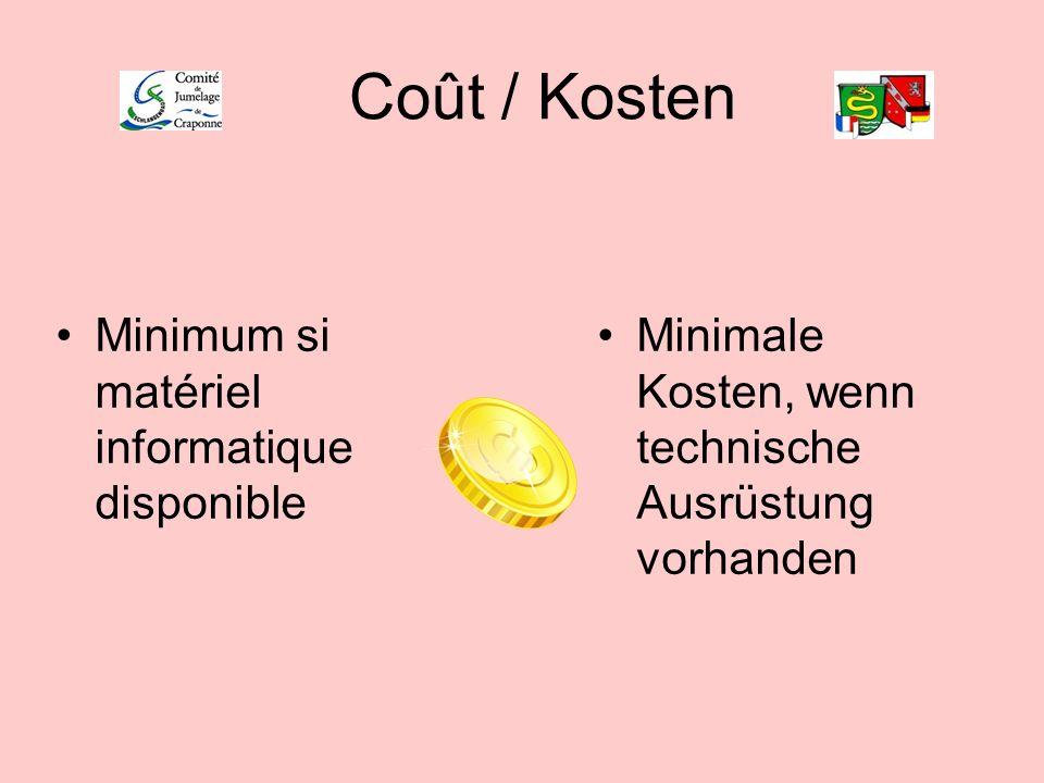 Coût / Kosten Minimum si matériel informatique disponible