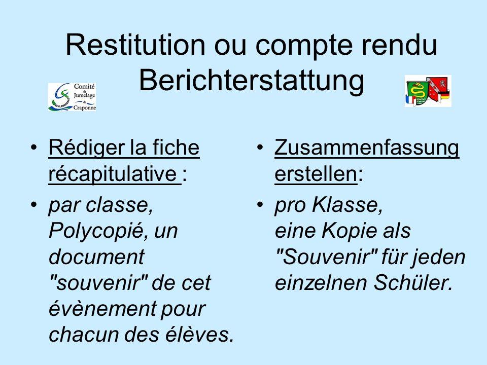 Restitution ou compte rendu Berichterstattung