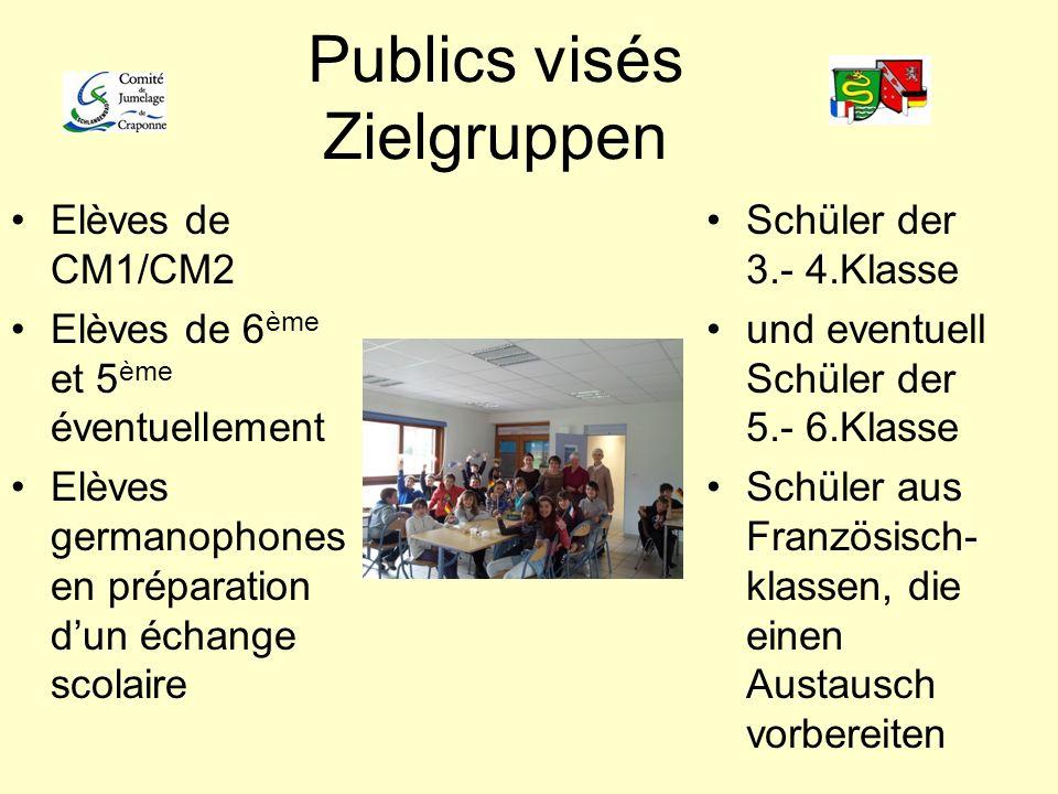 Publics visés Zielgruppen