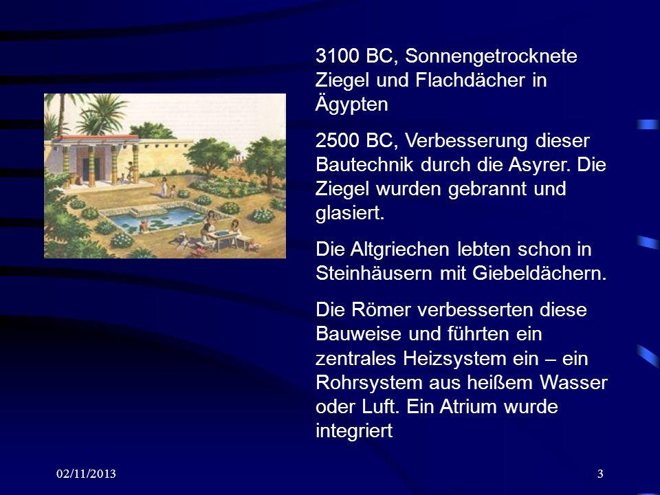 3100 BC, Sonnengetrocknete Ziegel und Flachdächer in Ägypten