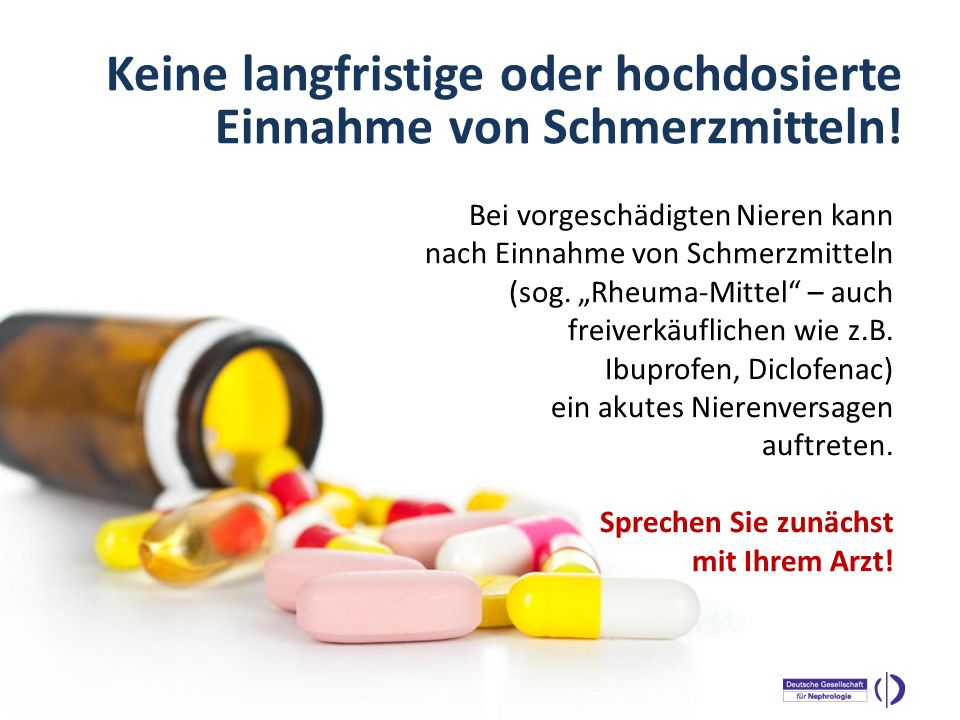 Keine langfristige oder hochdosierte Einnahme von Schmerzmitteln!