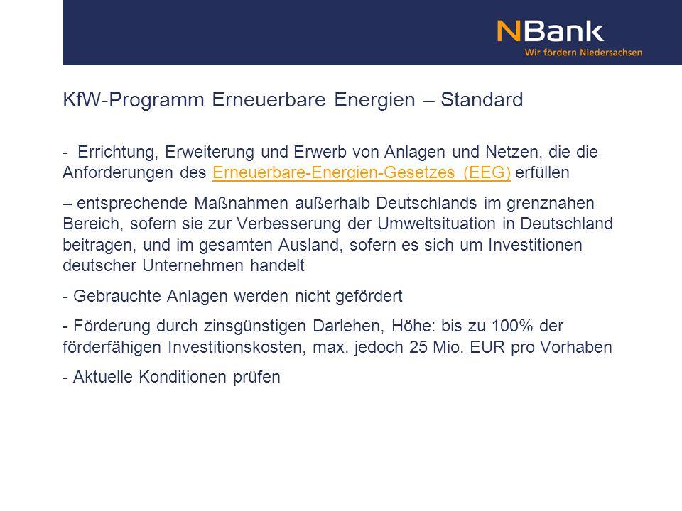 KfW-Programm Erneuerbare Energien – Standard