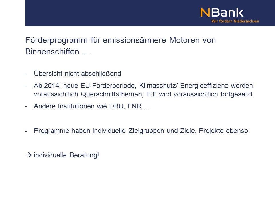 Förderprogramm für emissionsärmere Motoren von Binnenschiffen …