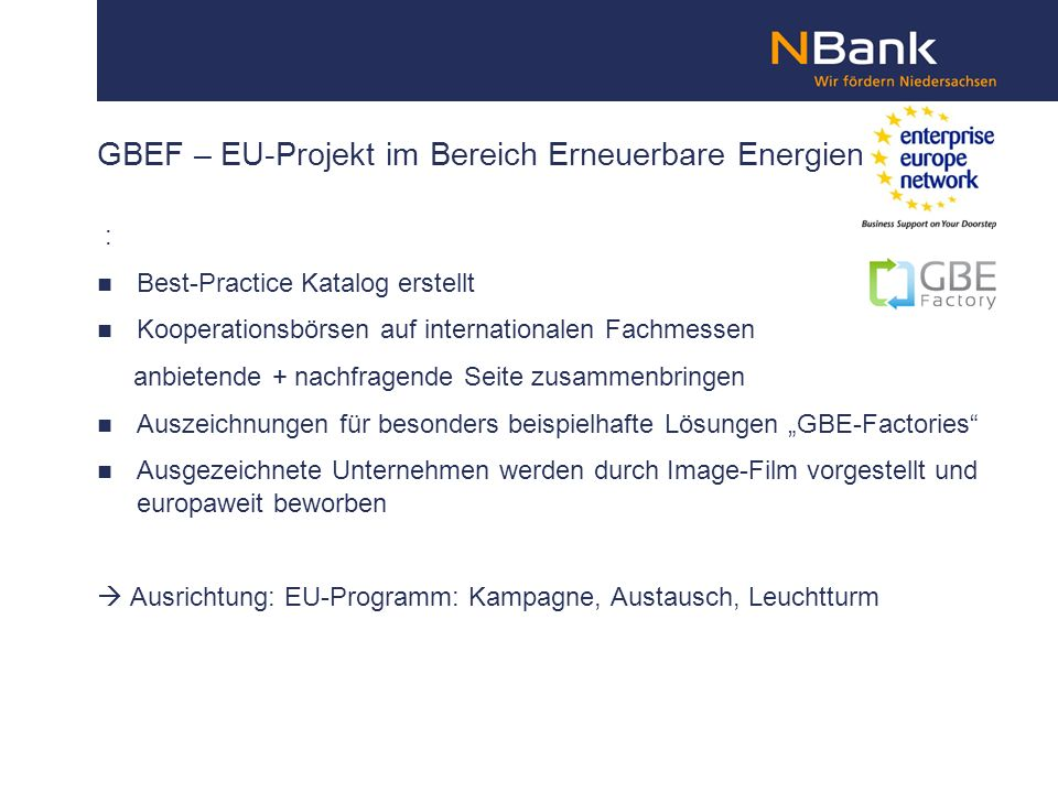 GBEF – EU-Projekt im Bereich Erneuerbare Energien