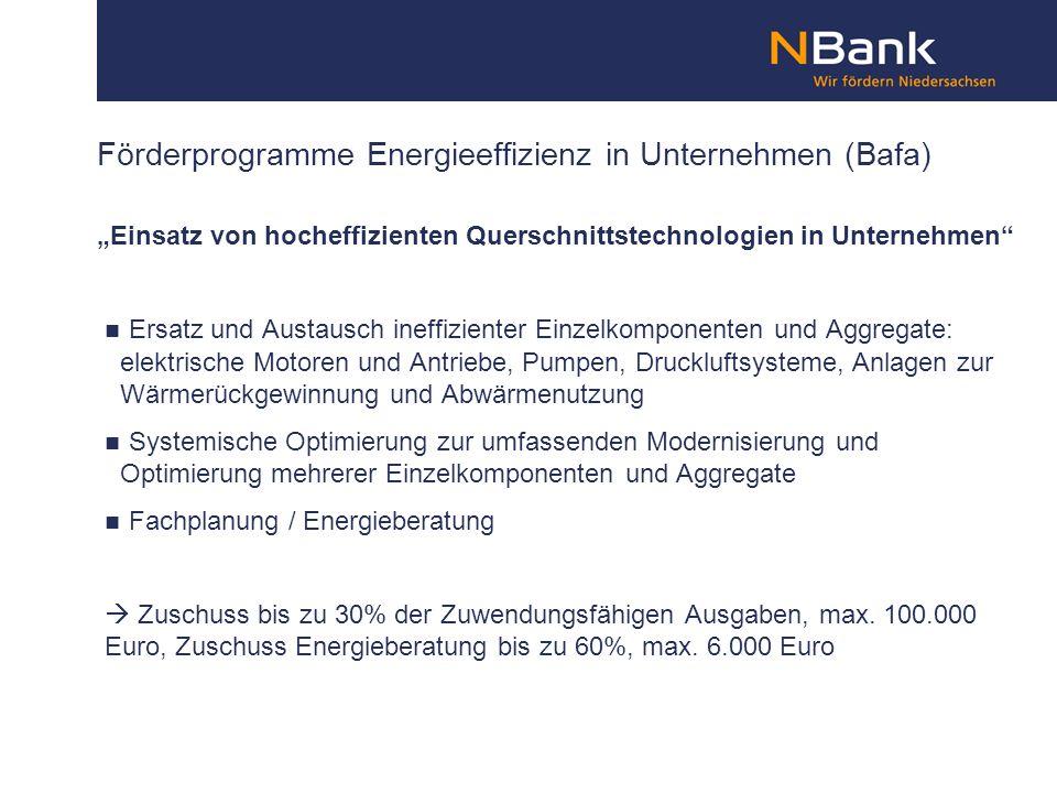 Förderprogramme Energieeffizienz in Unternehmen (Bafa)
