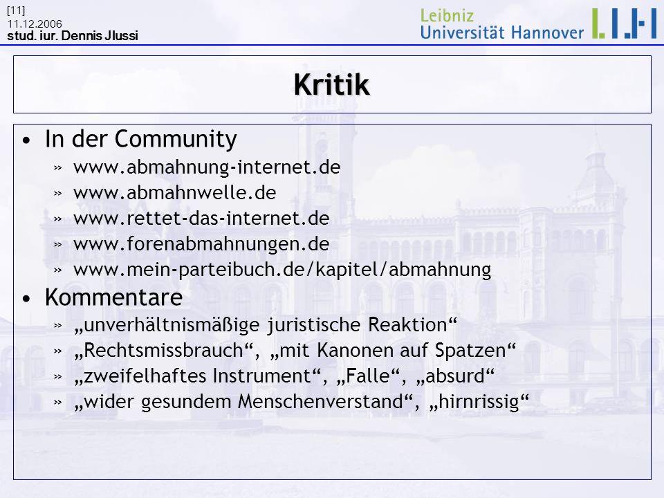 Kritik In der Community Kommentare www.abmahnung-internet.de