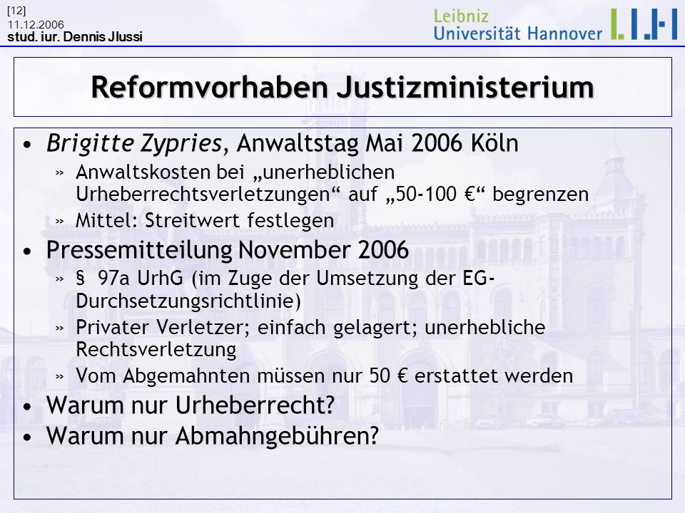 Reformvorhaben Justizministerium