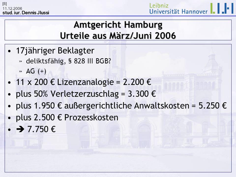 Amtgericht Hamburg Urteile aus März/Juni 2006