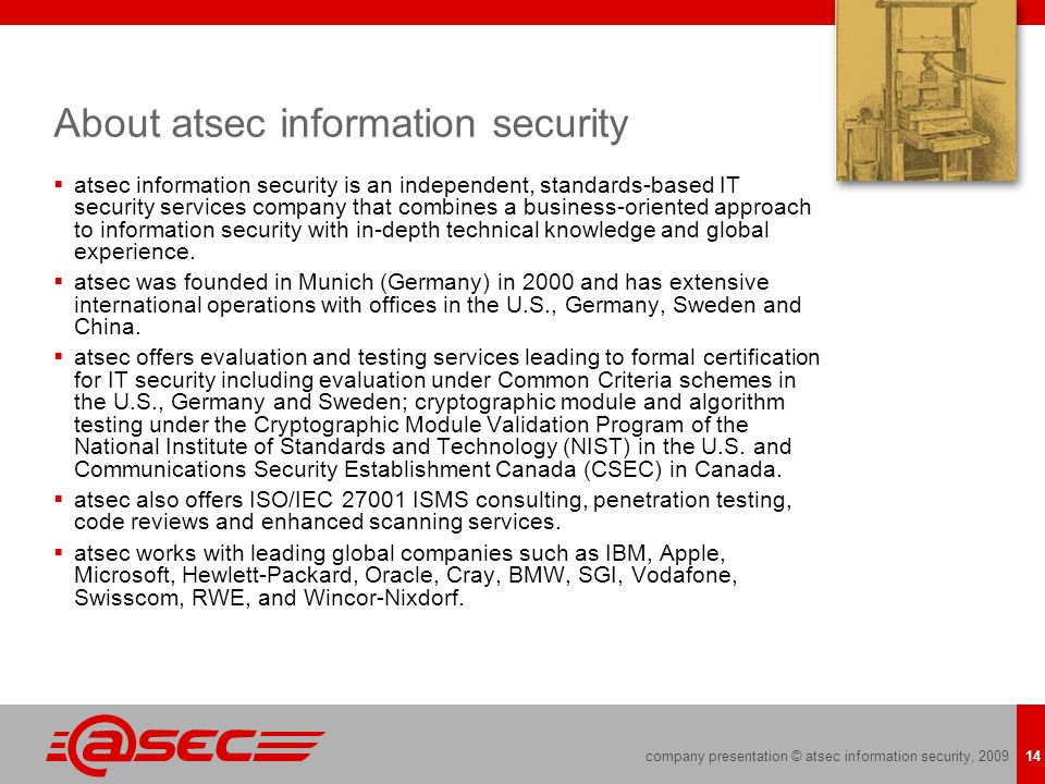 About atsec information security